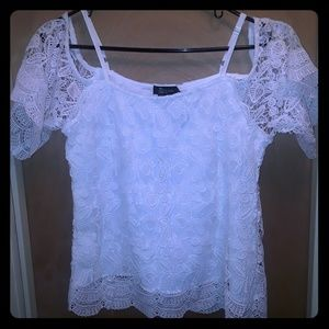 White lace overlay off shoulder blouse